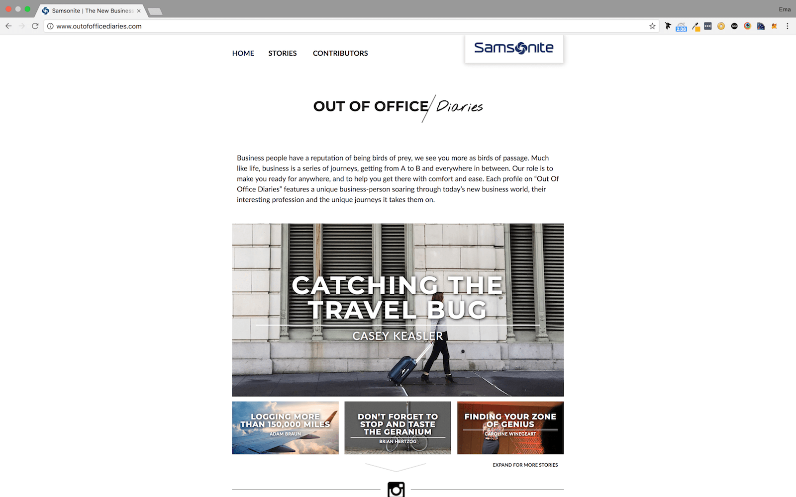 Samsonite Travel Blog Homepage